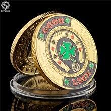 Золотой Зеленый клевер удачи вызов монета модная покерная карточка защитные чипы маркер фотография с монетной капсулой