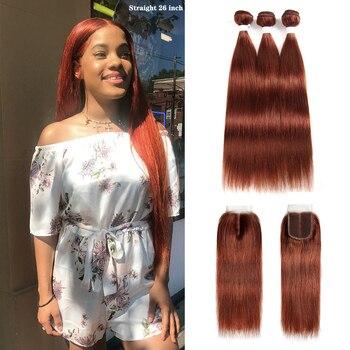 Brązowy Auburn wiązki ludzkich włosów z zamknięcia 4x4 KEMY włosy 3 sztuk brazylijski wiązki splecionych prostych włosów z zamknięciem nie Remy włosy