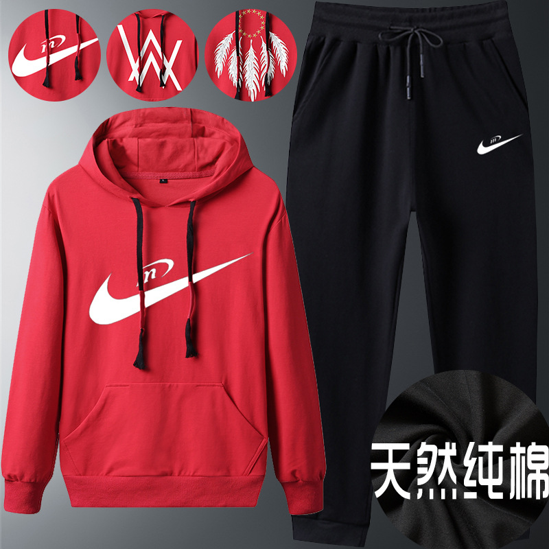 Spring And Autumn Sports Set Men's 2019 New Style Students Handsome Hoodie Hooded Oversized Stylish Loose Wear Plus-sized