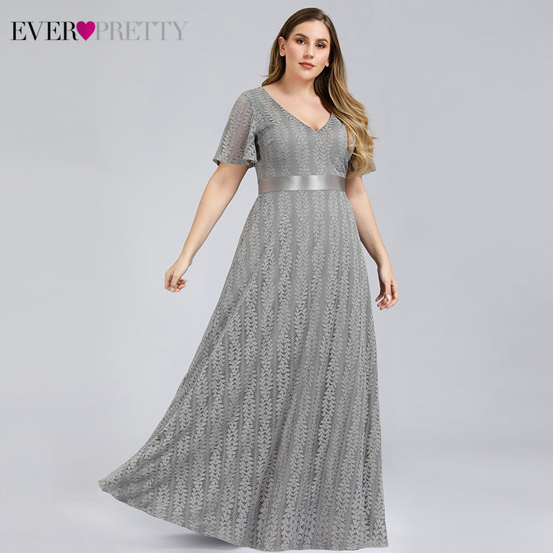 Ever Pretty Plus Size   Evening     Dresses   For Women Short Sleeve A-Line V-Neck Elegant Lace Party   Dresses   Robe De Soiree Femme