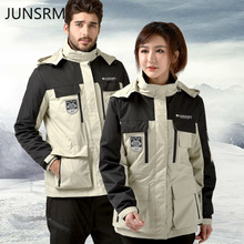цены Ski suit two-piece suit outdoor charge men women couple models two-piece detachable Korean version ski jacket ski pants Unisex