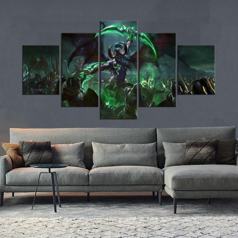 5 шт. HD картина WOW Hero Illidan Stormrage картины настенные наклейки World of Warcraft видеоигра плакаты, постеры для украшения стен
