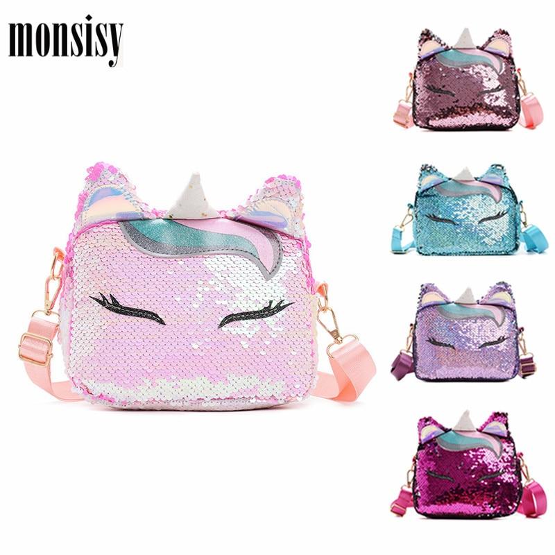Monsisy  Women Unicorn Crossbody Bag Girl Purse And Handbag Children Wallet Ladies Shoulder Bag Lolita Shiny Sequined Bag Bolsa
