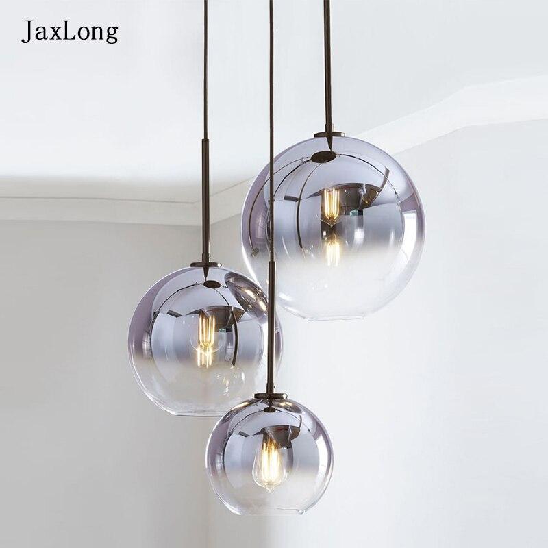 modern glass lighting pendant lights nordic simple kitchen hanging lamp 90-260v parlor Hotel living room Golden pendant lamp