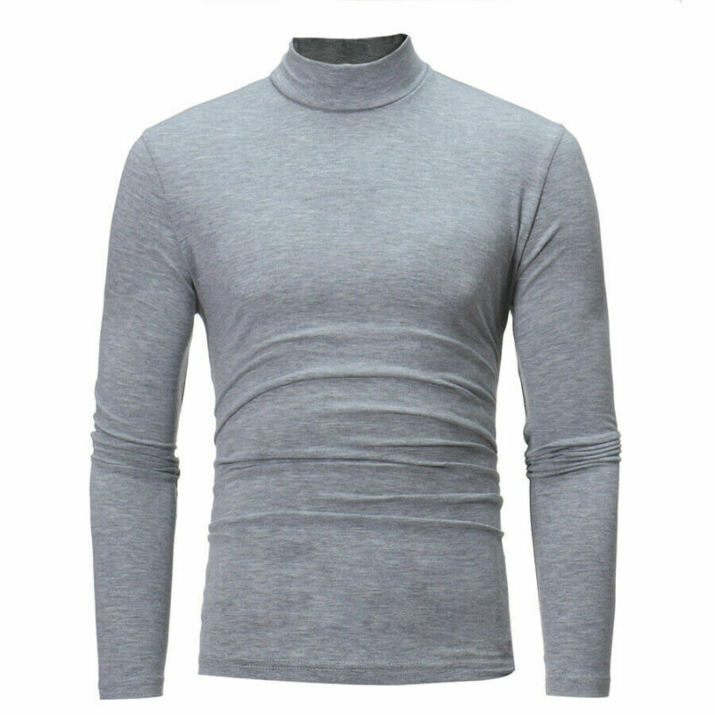 Brand New Gothic Men Turtelneck Sweater Pullover Long Sleeve Stretch Slim Basic Sweater Turtleneck Male Blouse Spring Clothes 3