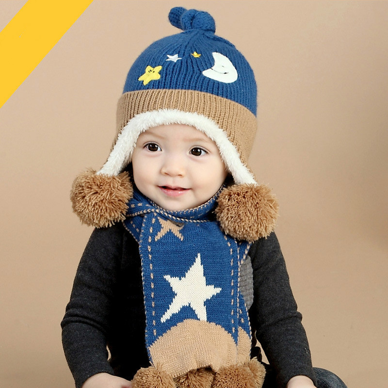 Babyknitting Thicken Cotton Cap Scarf Set  Beanie Boys Girls Moon  Stars Wool Ball Hat Warm  Gift Sets