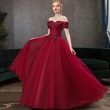 Бордовые платья quinceanera с открытыми плечами пышные для выпускного