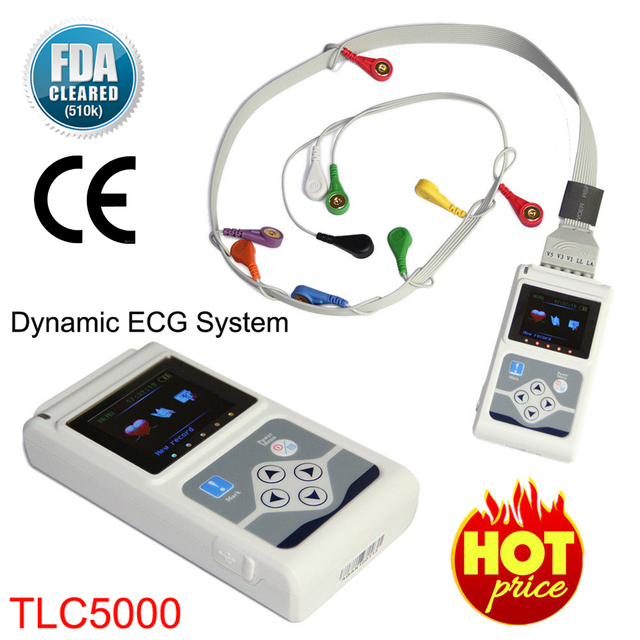TLC5000 Handheld Dynamic ECG Machine EKG Holter 12 lead 24h Analyzer Recorder Electrocardiograph Monitor Health Care+PC Software