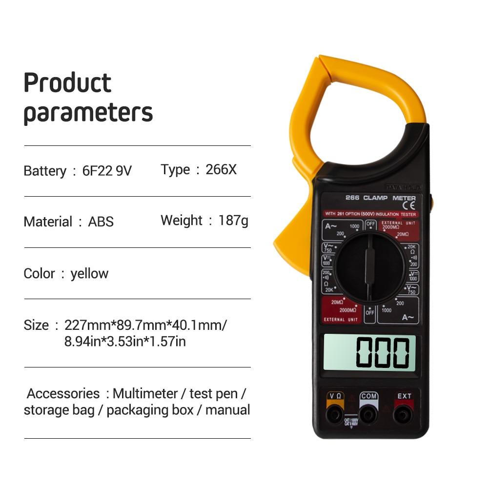 Digital Current Clamp Meter Buzzer Data Hold Non-contact Multimeter Voltmeter Ohmmeter Ammeter Ohmmeter Volt AC DC