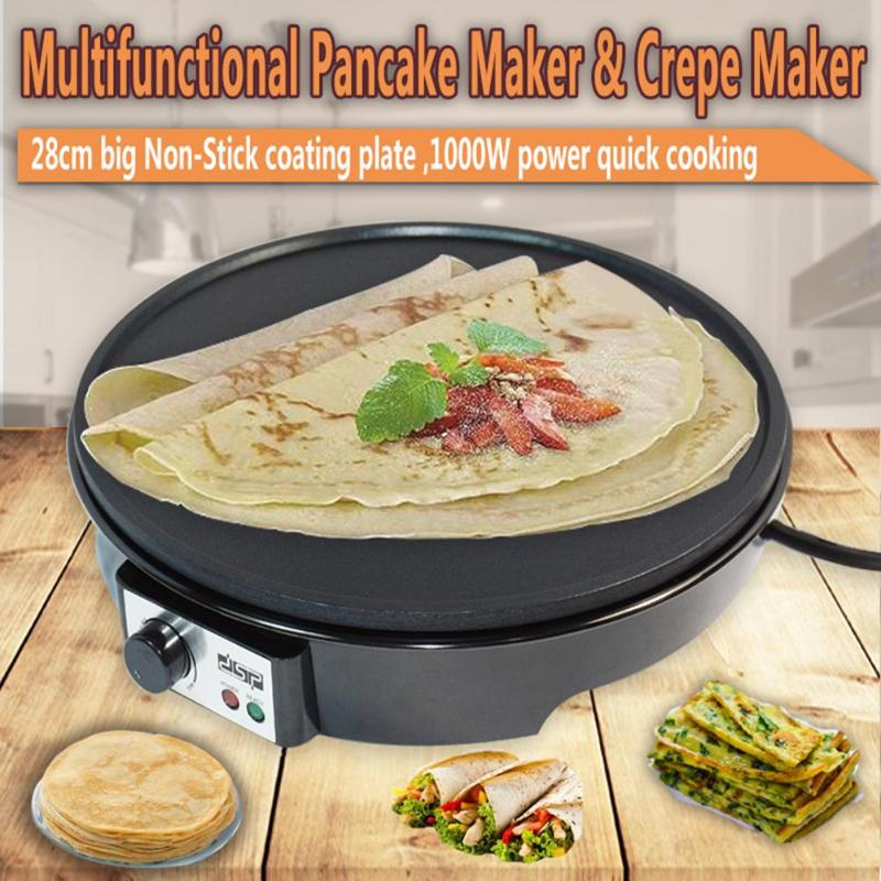 1000W Electric Crepe Pancake Non-Stick Maker Electric Skillets Griddle With Batter Spreader+Wooden Spatula