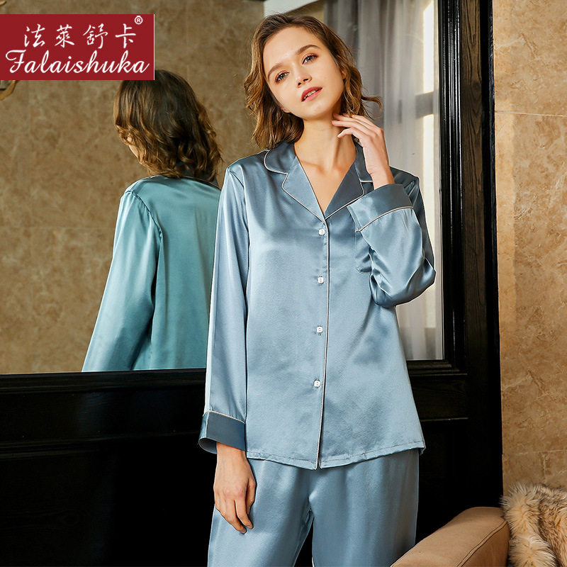 19 Momme 100% Natural Silk Pajamas Sets Women Sleepwear Long Sleeves Noble Lake Blue Genuine Silk Pyjamas Women T8232