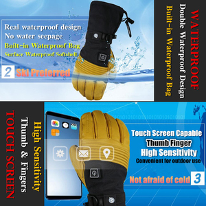 Image 4 - Mountitec 探検 4 電気加熱された手袋バッテリ駆動自己発熱タッチスクリーン 3 メートル防水乗馬ゴートスキンスキー手袋