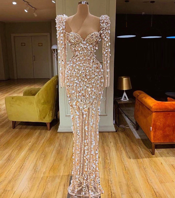 2020 Haute Couture Sweetheart Mermaid Evening Dress Floor Length Beaded Sequins Celebrity Dress Robe De Soiree Aibye Dubai
