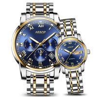 AESOP Luxury Couple Golden Fashion Stainless Steel Lovers Watch Automatic Mechanical Wrist Watches for Women & Men Wristwatch