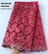 Tela de tul africano suizo, encaje francés, rojo Coral, 5 yardas, bordado muy ordenado, ropa tradicional nigeriana de alta calidad