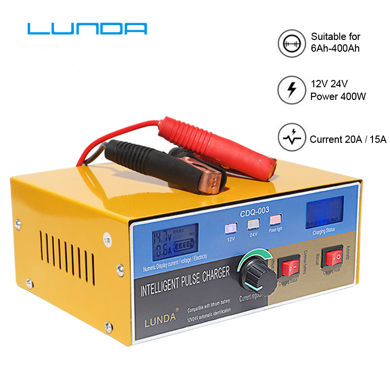 Cargador de batería de coche de Volledige Automatische, 400W, 12 V/24 V, 20Amp, intelliggente, Puls Reparatie, Batterij, Oplader, Vrachtwagen, Motorfi