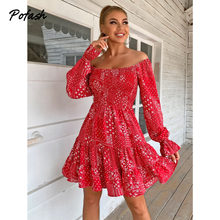 Pofash – Mini robe rouge imprimée à volants, style bohème, épaules dénudées, manches longues, dos nu, Sexy, été
