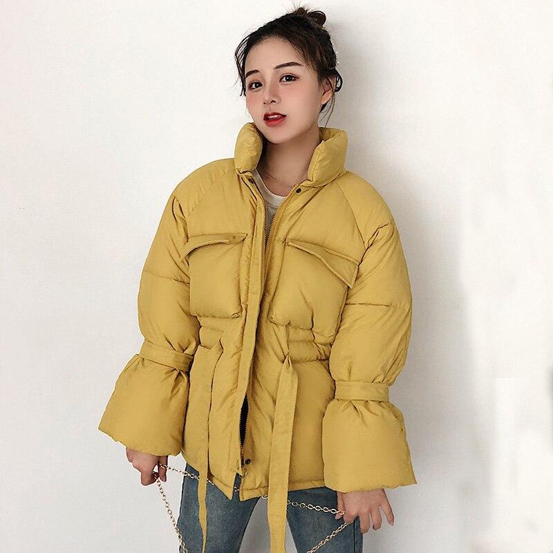 Mulheres casacos de inverno parkas 2019 Moda Grosso quente Lanterna manga encabeça jaquetas Finas sólidas jaquetas doces para o sexo feminino
