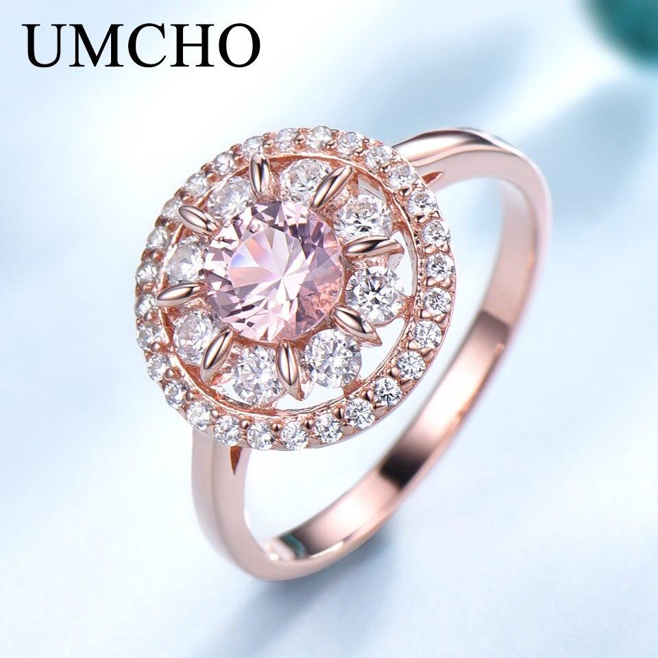 UMCHO Morganite Gemstone Rings For Women Genuine 925 Sterling Silver Fashion May Birthstone Ring Romantic Gift Fine Jewelry