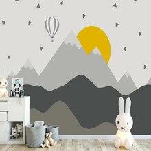 Grand papier peint 3D géométrique en forme de montagne sur mesure, décoration murale pour chambre d'enfant