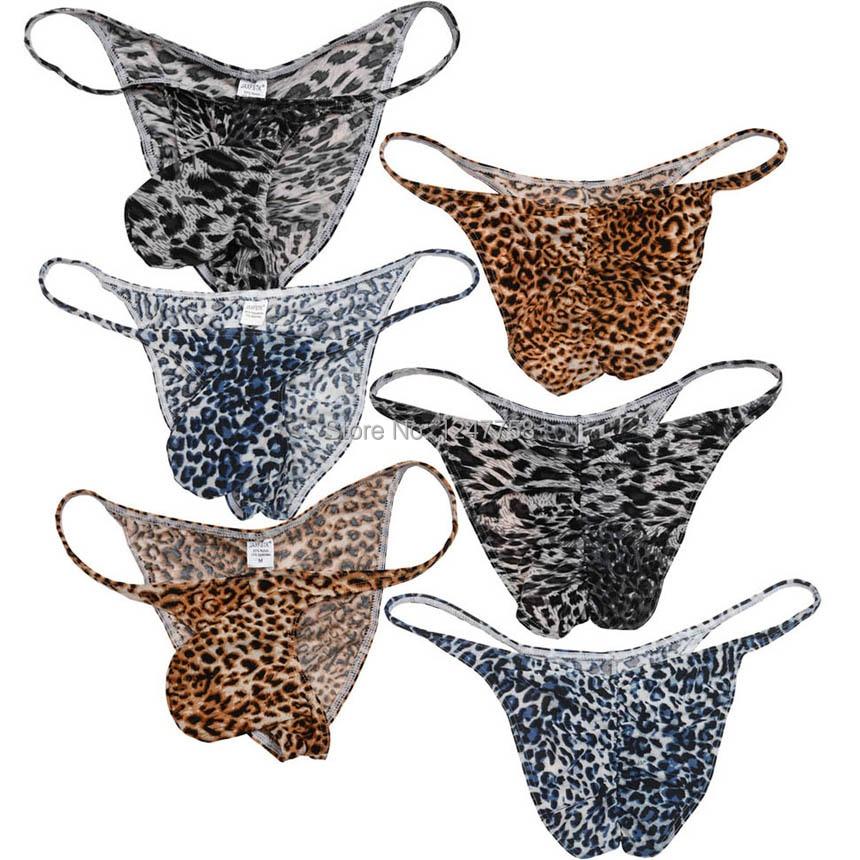 Men Bikini Brief Half Coverage Underwear Male Leopard Print Cheeky Shorts  Low Rise Men's Briefs