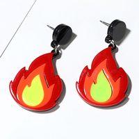 Acrylic Red Fire Drop Earrings Pendant Statement Earrings Women Fashion Jewelry Y4QB