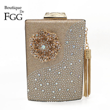 Boutique De FGG Wine Pot Flower Tassel Women Clutches Evening Purses and Handbags Diamond Wedding Clutch Cocktail Crystal Bag