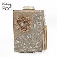 Boutique de fgg pote de vinho flor tassel feminino bolsas noite e bolsas diamante embreagem casamento cocktail cristal saco