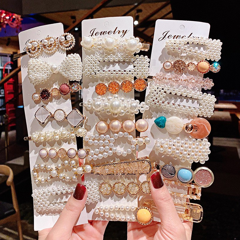 3-5Pcs/Set Fashion Pearls Acetate Geometric Hair Clips For Women Girls Headband Sweet Hairpins Barrettes Hair Accessories Set