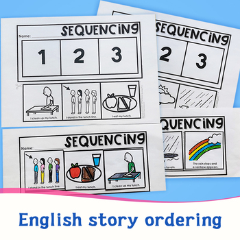 English Stories Sequencing Coloring and Clipping Homeschool English Learning Reading Books Children Educational Toys In English image