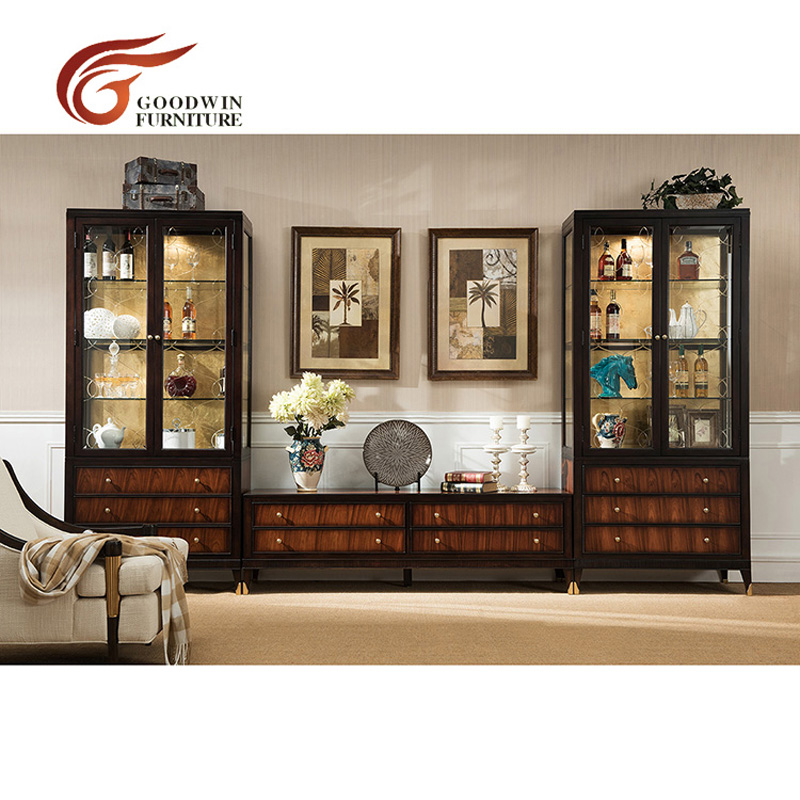 wooden cabinet tv table living room furniture and show case display glass wa378