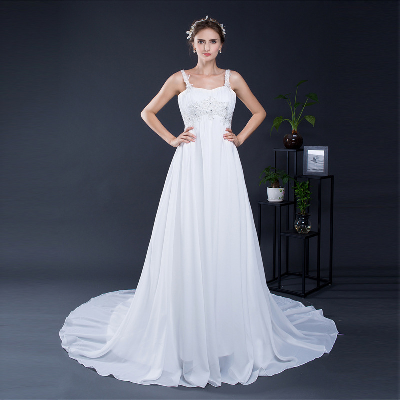 White Satin Strapless Sweep Train Floor-length Lace Up A-line Sleeveless Backless Wedding Dresses Long Beaded Bridal Gala Gowns