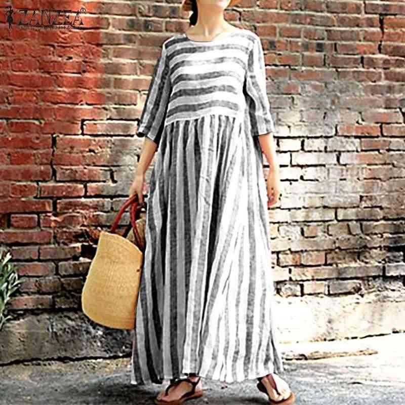 Mùa Hè 2020 Zanzea Nữ Sundress In Sọc Đầm Nữ Dài Đầm Maxi Đi Biển Đầm Vestido Áo Thun Áo Dây Femme Đảng Vestidos 5XL