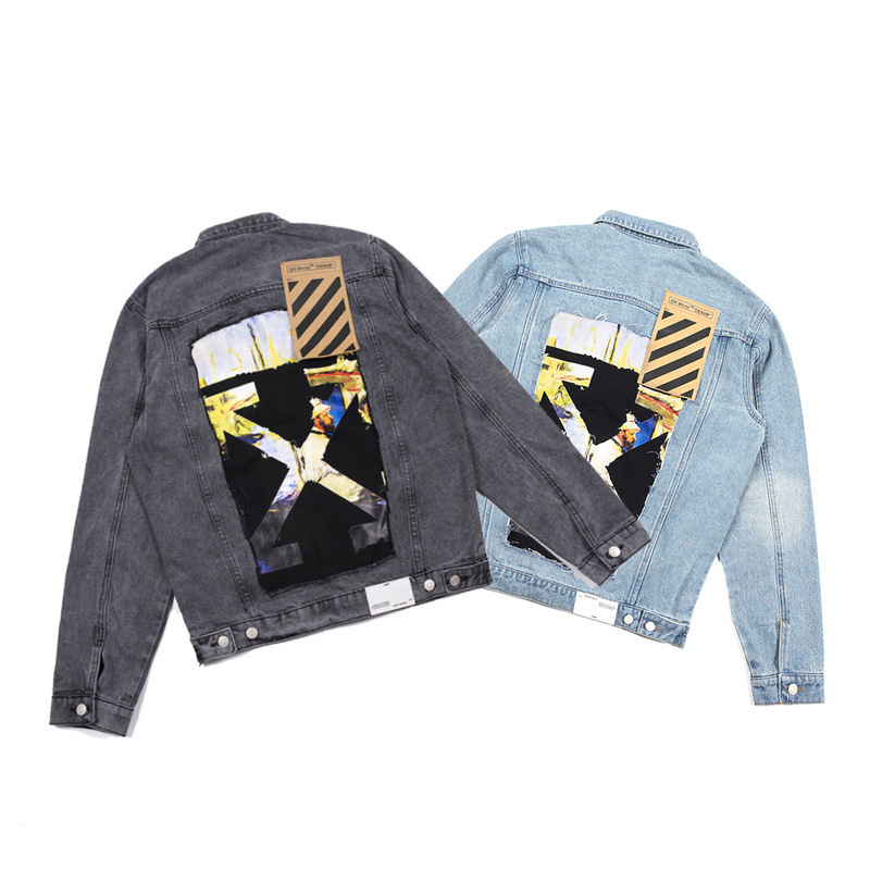 Off Ow White New Style INS Joint Oil Painting Applique Arrowhead Cowboy Men's Jacket