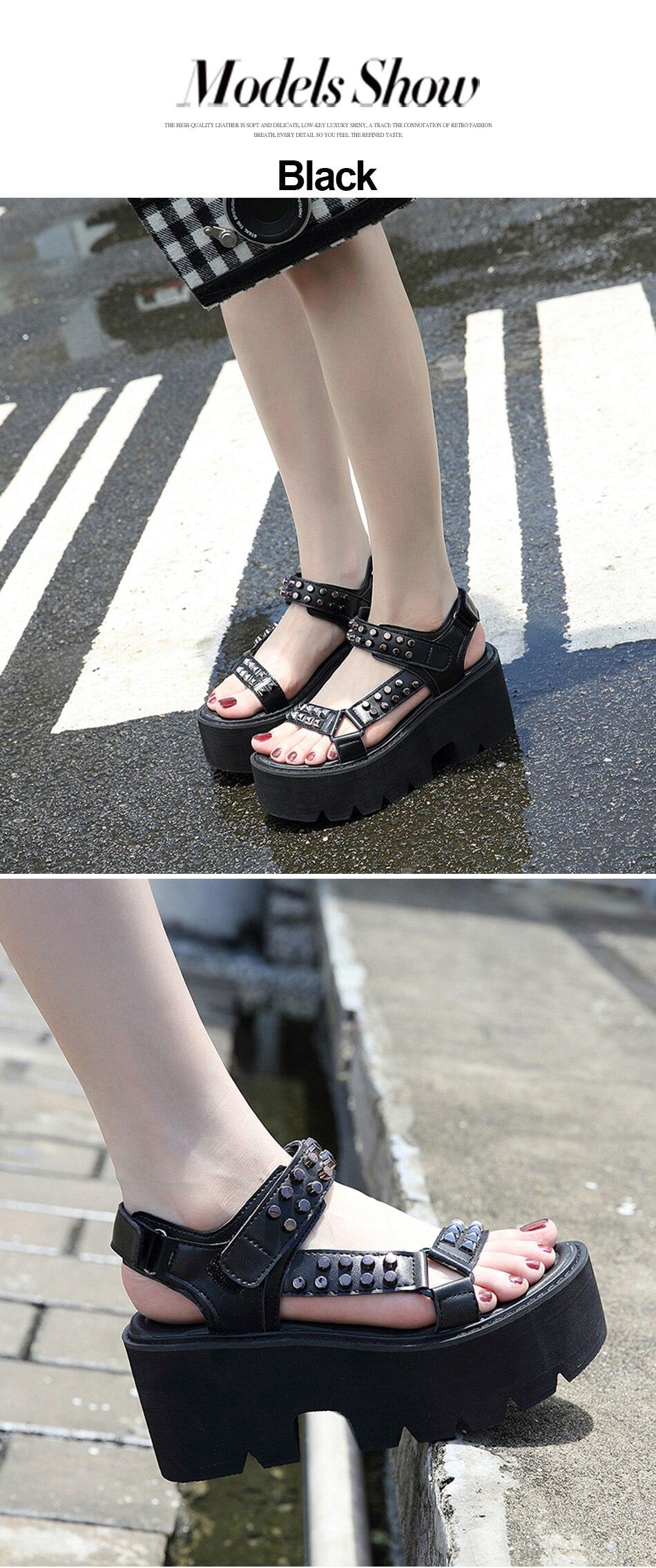 black rivets punk style shoes