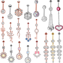 1/2PCS 14G Opal Flower Cute Belly Button Ring Surgical Steel Heart Navel Piercig Ring Sexy Belly Piercing Dangle Pircing Ombligo(China)