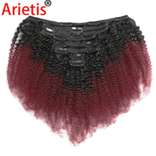 Kinky-Curly-Clips Hair-Extensions Arietis Human-Hair Afro for White Women 120gram 100%Remy