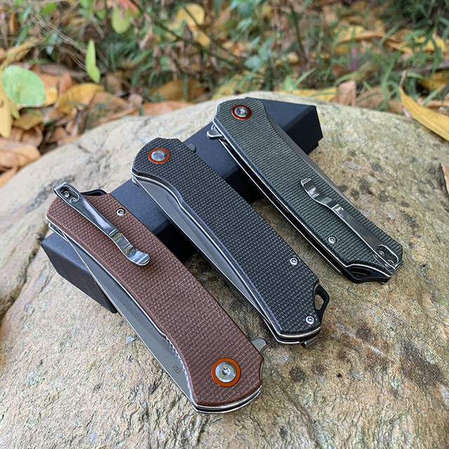 TUNAFIRE D2 folding outdoor camping Pocket knife  High-end linen  handle hunting survival tactical knives EDC tool 6