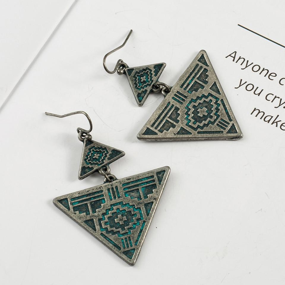Women Retro Boho Earrings Jewelry Dangle Green Engagement Wedding Jewelry Gift