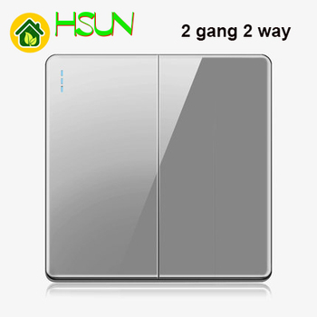 High-grade 1 2 3 4 gang 1 2 way big panel Grey switch socket Type 86 Wall 2.5D Cambered Mirror Toughened glass Computer TV 18