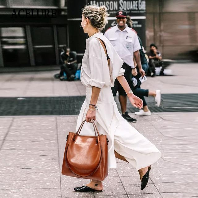 ACELURE Casual Large Capacity Women Tote Shoulder Bag PU Leather Ladies Bucket Handbag Messenger Bag Soft Shopping Crossbody Bag 5