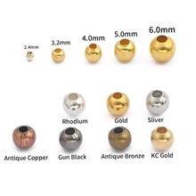 300-1000 Contas de Metal Cor De Ouro Prata 2 pçs/lote/3/4 milímetros Rodada Soltos Spacer Beads Para Jewelry Making Achados DIY Colar Pulseira
