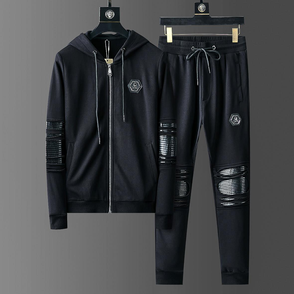 2019 Skulls Mens Hoody Sportswear Cotton Holes Clothes Casual Tracksuits Sweatshirts Coats Men Track Suits Joggers 2 Piece Set