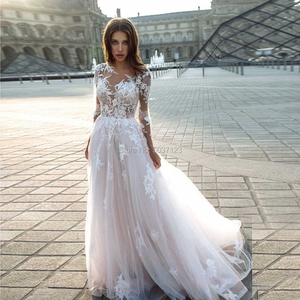 Long Sleeves A Line Wedding Dresses Scoop Lace Appliques