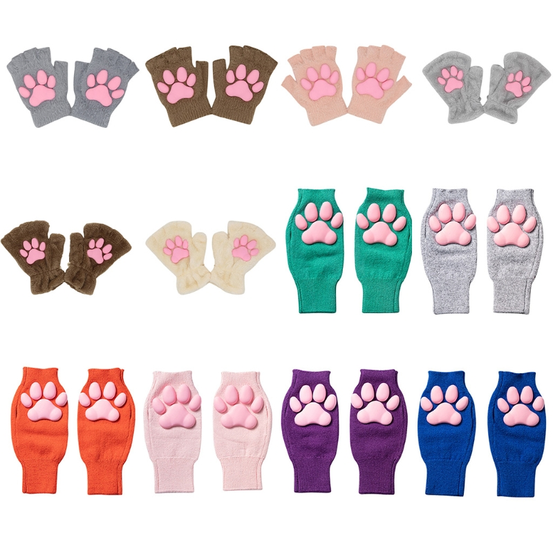 Silicone 3D Cat Claw Pad Mittens Plush Kitten Paw Gloves Halloween Cat Cosplay Mitten Knitted Lolita Hand Sleeve