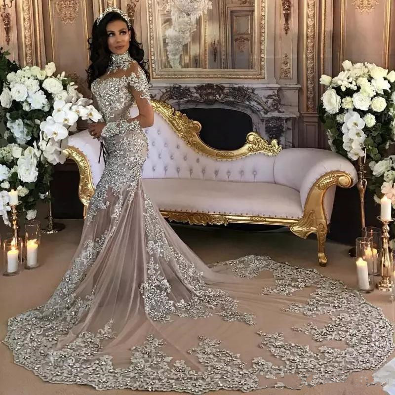 Luxury Sparkly 2020 Wedding Dresses Sexy Bling Beaded Lace Applique High Neck Illusion Vestido De Noiva Mermaid Bridal Gown