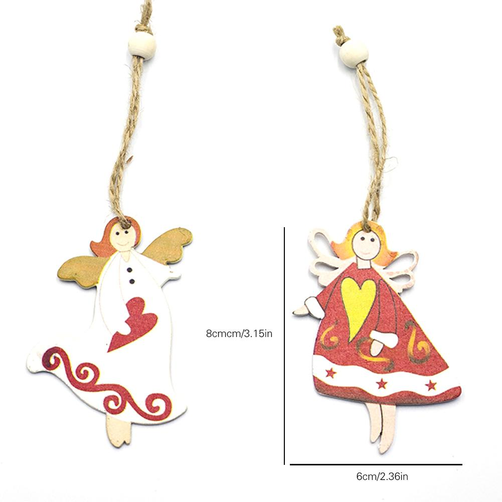 Wooden Christmas Tree Angel Pendant Christmas Craft Hanging Ornaments Home Decoration in Pendant Drop Ornaments from Home Garden