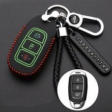 Кожаный чехол для автомобильного ключа чехол для ключа для Hyundai i30 Ix35 KONA Encino Solaris Azera greatig Accent Santa Fe Palisade 2018 брелок