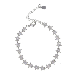 Image 2 - 2019 New fashion Christmas gifts gorgeous women luxury jewelry with sparking bling cz star starburst charm hand chain bracelets