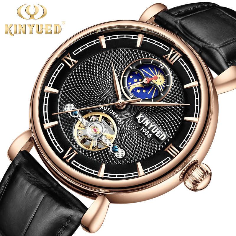Kinyued moda simples relógio mecânico automático masculino pulseira preta marrom caixa de presente relógio à prova dwaterproof água embalagem relógios